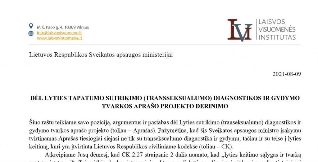 Raštas LR Sveikatos apsaugos ministerijai dėl LYTIES TAPATUMO SUTRIKIMO (TRANSSEKSUALUMO) DIAGNOSTIKOS IR GYDYMO TVARKOS APRAŠO PROJEKTO DERINIMO