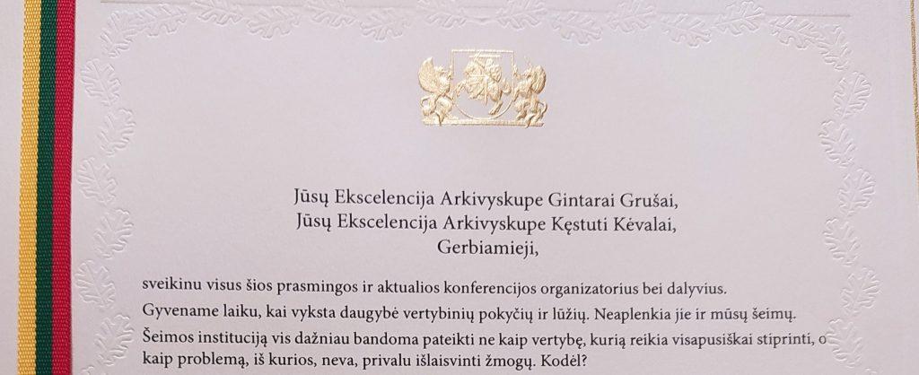"""LR Prezidento Gitano Nausėdos sveikinimo kalba konferencijoje """"Šeima – visuomenės ir valstybės pagrindas. Sutarimo link"""